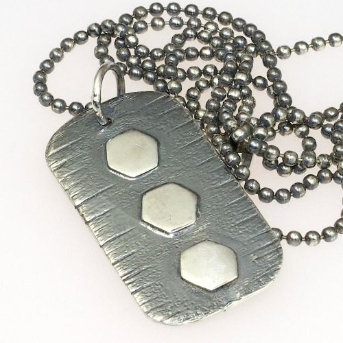 Textured Dog Tag Pendant.