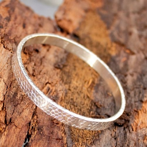 Thick Hexagon Pattern Silver Bangle