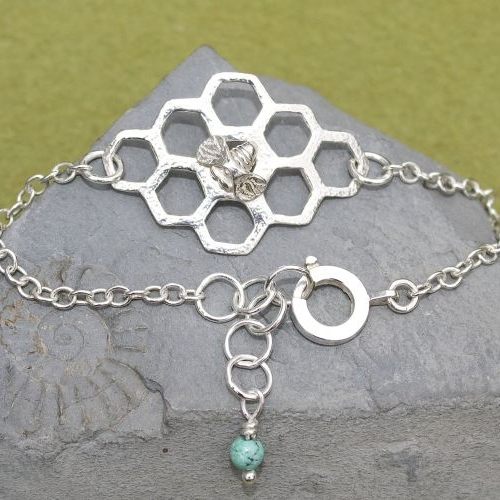 Sweet Honey & Bee Bracelet Silver
