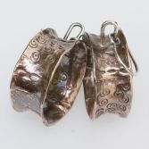 Sold Fold Formed Textured Copper Dangles