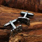 Melted Edge Silver Cuff Links