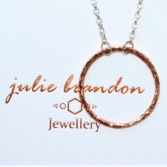 Large Hammered Copper Circle Necklace With Sterling Silver Chain