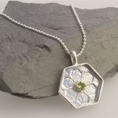 Large Hexagon Pendant With Gemstone And Little Bee