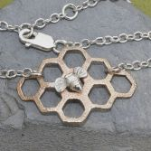 Sweet Honey & Bee Necklace Silver & Bronze