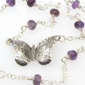 Large Butterfly With Amethyst Beads
