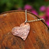 Bark Textured Etched Copper Heart Necklace