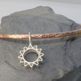 Copper Textured Bangle Sterling Silver Flower