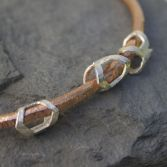 Textured Copper Bangle Silver Beads