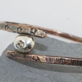 Silver Pebble & Copper Bangle Oval