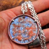 Copper & Silver Large Circle Enamel Pendant