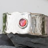 SOLD-Organic Edge Silver Cuff With Cabochon
