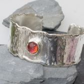 Organic Edge Silver Cuff With Cabochon