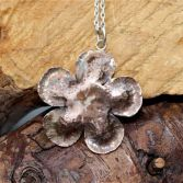 Hammered Large Copper Flower Pendant