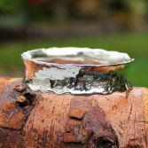 Melted Edges Curved Silver Bangle