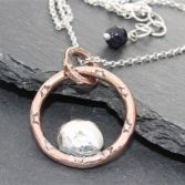 Copper & Solid Silver Pebble Necklace