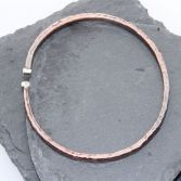 Copper & Silver Hammered Open Bangle