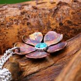 Copper Sterling Silver & Turquoise Flower Statement Necklace