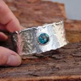 Chinese Turquoise Wide Silver Cuff